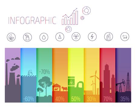 Affiche infographie avec des problèmes écologiques Banque d'images - 97333986