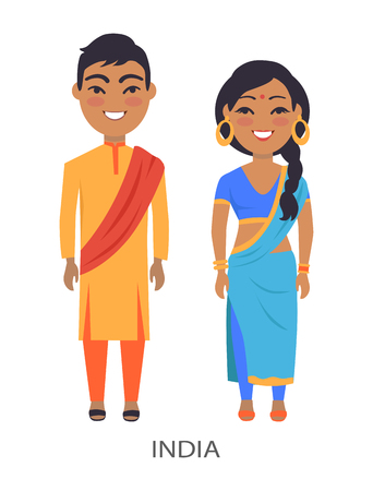 India Couple and Traditions Vector Illustration