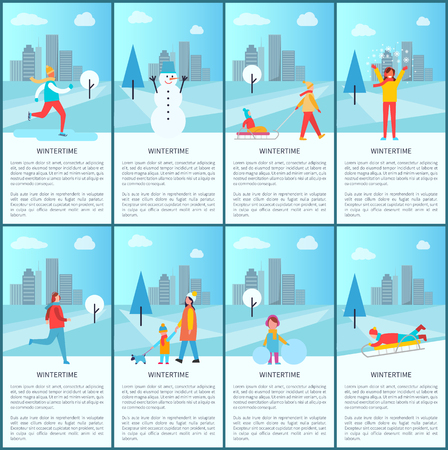 Wintertime collection of banners, snowman and family, happy woman with snowflakes, mother and kid walking their dog isolated vector illustrations set