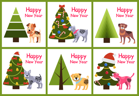 Set of happy New Year posters with abstract Christmas trees and cute puppies with spots vector illustration greeting cards with symbol of year 2018 Illustration
