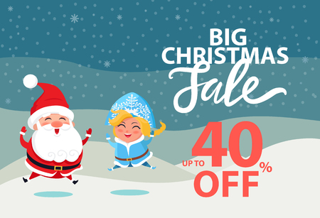 Big Christmas sale up to 40 off wintertime poster with Santa Claus and Snow Maiden. Vector illustration with xmas discount clearance and winter symbols