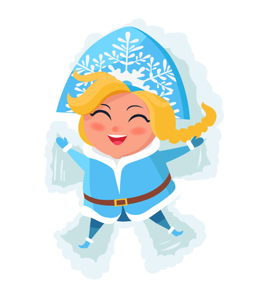 Smiling snow maiden laying in snow and makes figures by hands and legs vector postcard isolated on white background. Russian snegurochka having fun