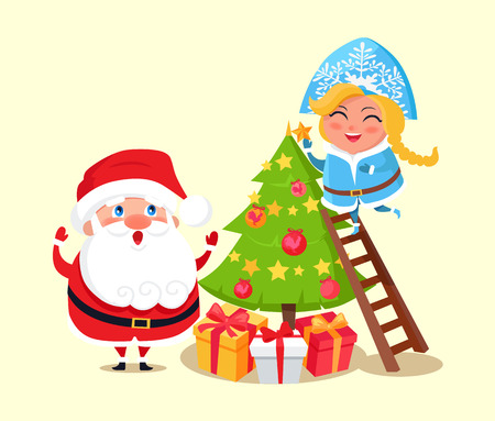 Santa Claus and Snow Maiden decorating Christmas tree, winter characters and pine with balls and stars, presents isolated on vector illustration Illustration
