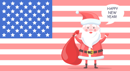 Traditional Santa Clause character holds big bag with gifts and wishes happy New Year on background with USA flag cartoon vector illustration.