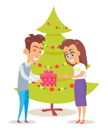 Merry Christmas poster husband giving present to adorable wife vector postcard on background of Xmas tree decorated by garland isolated on white Çizim