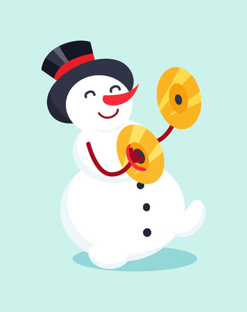 Snowman with Drum Cymbal Musical Instrument Icon Illustration