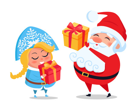 Santa Claus and Snow Maiden Decor Present Boxes Vector illustration. Ilustração