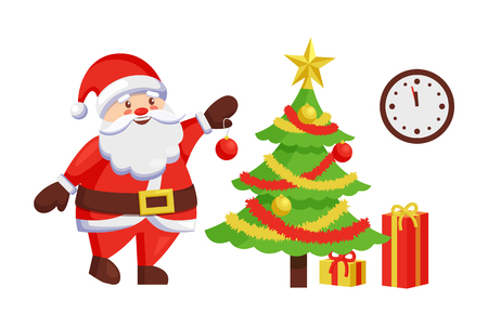 Santa Claus decorates New Year tree by hanging color ball. Christmas Father and winter holiday symbol, clock on wall and presents in gift boxes vector