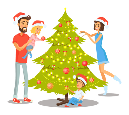 Family decorating Christmas tree with balls and bells, candies and shiny garlands, winter holidays and peoples involvement vector illustration