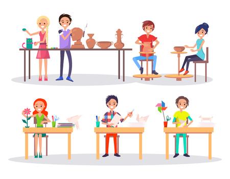 Boys and Girl at Art School Isolated Illustration Ilustração