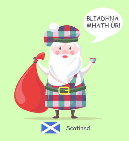 Scotland and Santa Claus poster, man standing in traditional clothes, with pattern and saying happy New Year in Scottish, vector illustration