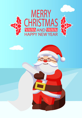 Merry Xmas and Happy New Year Postcard Santa Claus Vector illustration.