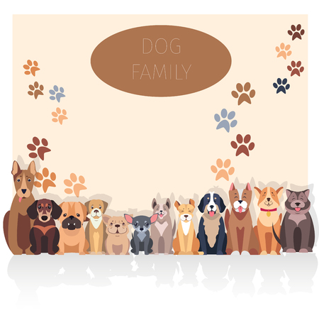 Dog family banner in purebred concept. Vector of Bernese Mountain and Central Asian hounds, French and English Bulldog, Chihuahua and boxer, Jack Russell and Bull Terrier, puppy of Argentinian Dog. Ilustração