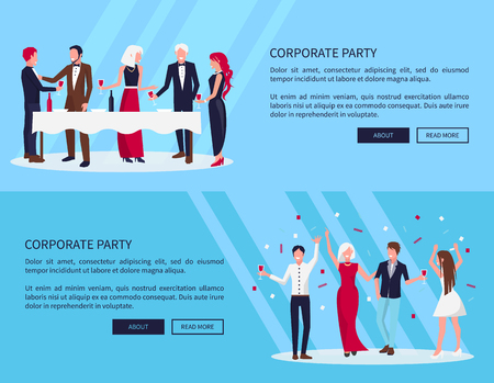 Web Page Corporate Party  Vector Illustration