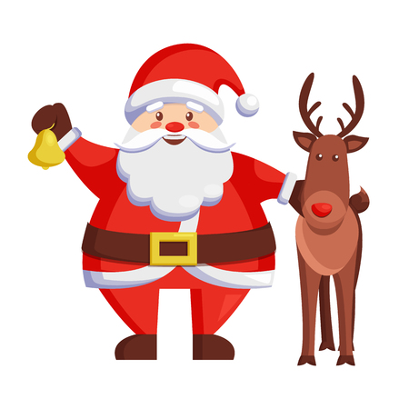 Santa Claus and reindeer icon isolated on white background. Vector illustration with happy Santa holding golden bell and brown cute smiling deer Çizim