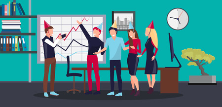 Corporate party in office, workplace with whiteboard and graphic, clock and bonsai, shelves and documents, people taking photo vector illustration