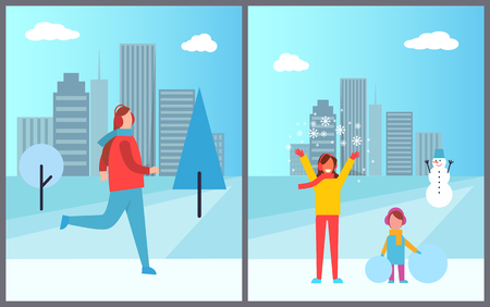 People and cityscape collection of posters with skiing man, woman with snowflakes and small girl holding snowballs and snowman vector illustration Illustration