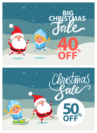 Big Christmas sale half price with Snow Maiden and Santa Claus on bright wintertime background. Vector illustration with discount percentage value