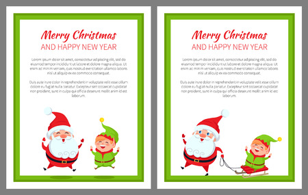 Merry Christmas happy New Year bright banner with Santa Claus and his helper elf on white background. Vector illustration with characters in green frame