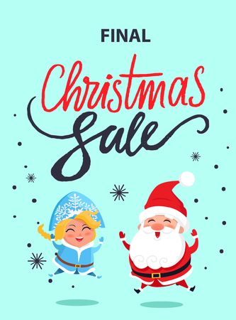 Final Christmas sale advertisement poster with jumping Santa Claus and Snow maiden in carnival costumes vector illustration banner