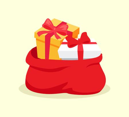 白い背景にソレーションされたクリスマスプレゼントベクターの完全なオープンレッドバッグ。休日のお祝いのためのギフトボックスと漫画サンタ  イラスト・ベクター素材