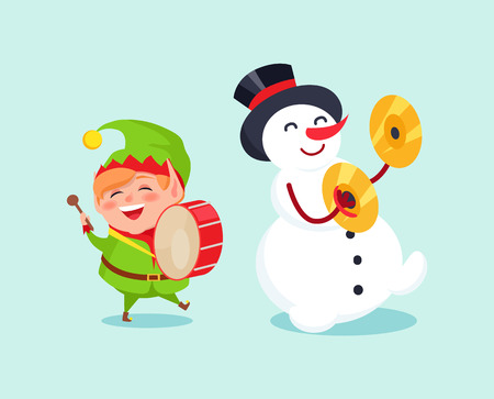 Cute elf playing on drum, snowman with ymbal musical instrument vector illustration cartoon winter characters isolated on blue background, music band