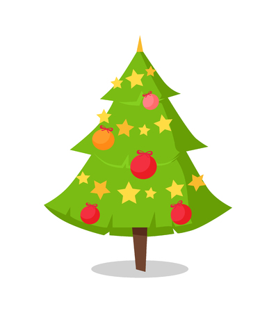 green bushy christmas tree icon decorated by star shape garlands