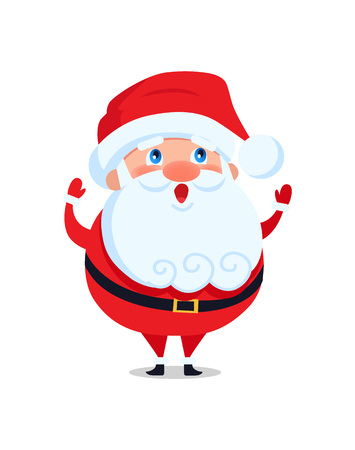 Santa Claus with long beard greets everyone and wishes Merry Christmas and Happy New Year, cartoon character in red costume isolated on white background