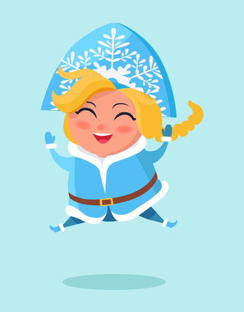 Smiling snow maiden jumping high on snow vector postcard isolated on white background. Russian snegurochka having fun, winter holidays poster Иллюстрация