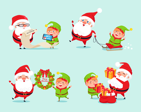 Santa having fun with elf icon isolated on light blue background. Vector illustration with Santa and his cheerful helper with presents with list of gifts
