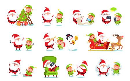Santa Claus activities collection, winter character with elf and snowman with reindeer doing job, read list of wish, deliver gifts vector illustration Illustration