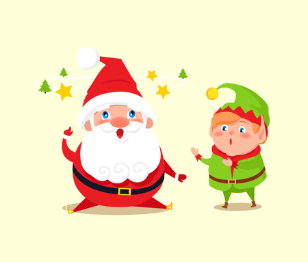 Santa has idea shown by stars and tree, amused elf with shocked face expression vector illustration banner with cartoon characters isolated on white