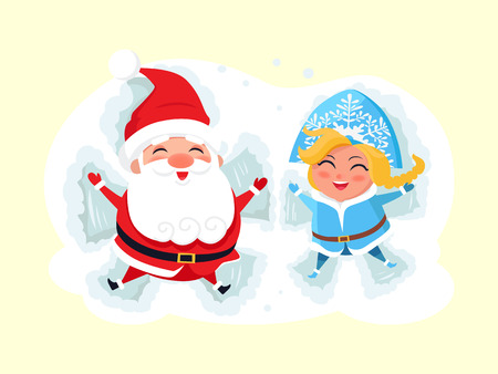 Snow Maiden and Santa Claus making angel on snow icon isolated on white background. Vector illustration with Christmas characters having fun in deep snow