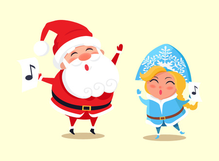 Santa Claus and Snow Maiden singing together, icon of note, winter characters wearing traditional costumes and smiling isolated on vector illustration