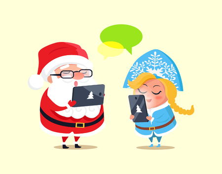 Santa Claus and Snow Maiden with gadgets reading something and singing songs, laptop and mobile phone with pine sign isolated on vector illustration