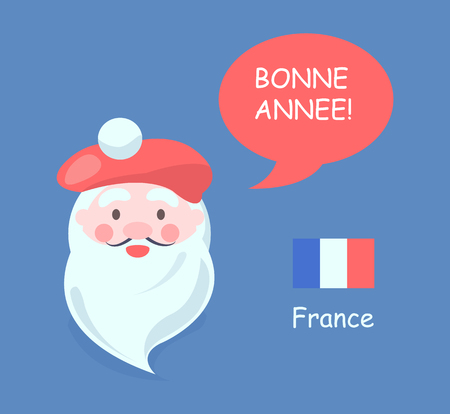 France and Santa Claus with symbolic hat and phrase happy New Year, French flag and language, vector illustration isolated on blue background