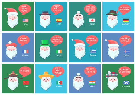 Santa Clauses from different countries in national headdresses wishes happy New Year in foreign languages banners cartoon vector illustrations set.