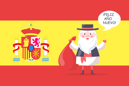 Spanish Santa Claus in national costume with gift bag wishes happy new year in native language with national flag on background vector illustration.