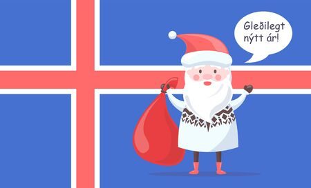 Santa Claus in knitted sweater with ornament greets with happy New Year in Icelandic language with national flag behind vector illustration.