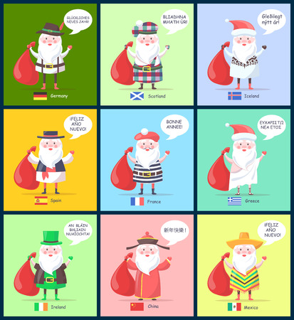 Germany and Scotland, Iceland and Spain, Santa Clauses with greeting of happy New Year and flags of countries isolated on vector illustration