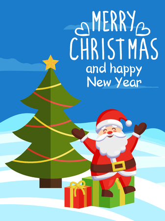 Merry Christmas and Happy New Year inscription, poster Santa Claus sits on gift boxes on winter landscape near decorated Xmas tree vector illustration Illustration