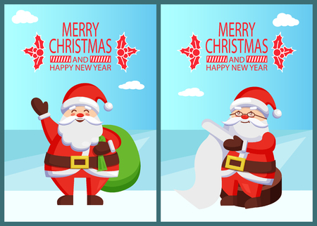 Merry Xmas and Happy New Year postcard Santa Claus reading wishlist sitting on wooden stump, Father Christmas with green sack bag vector poster on snow Illustration