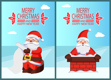 Merry Xmas and Happy New Year postcard Santa Claus reading wishlist sitting on wooden stump, Father Christmas in chimney pipe vector poster on snow
