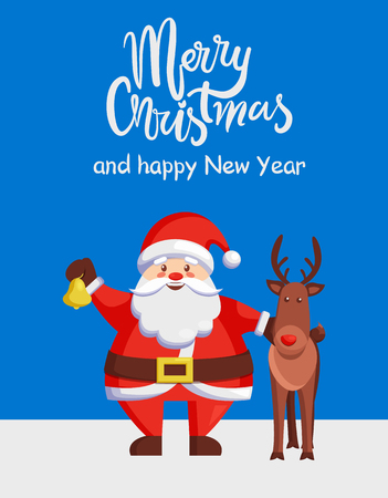 Merry Christmas and Happy New Year poster with Santa Claus and reindeer walking outdoors. Vector happy man holding golden bell and brown deer