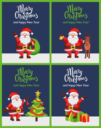 Merry Christmas happy New Year Santa congrats posters with decorated spruce, presents and reindeer. Vector illustration with happy winter characters Çizim
