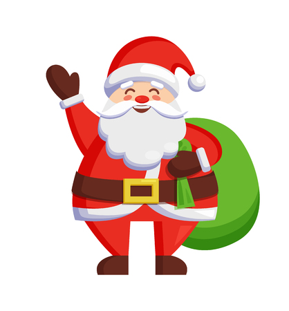 Santa Claus and bag with gifts icon isolated on white background. Vector illustration with St. Nicholas holding huge green bag full of Christmas presents Иллюстрация
