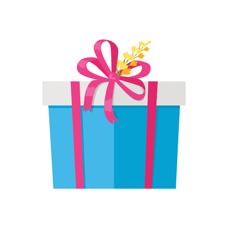 Present in box decorated by yellow flower vector illustration isolated on white backdrop. Gift packages wrapped in blue paper with red bow