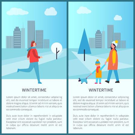 Wintertime Outdoor Activities Vector Illustration Standard-Bild - 97386838