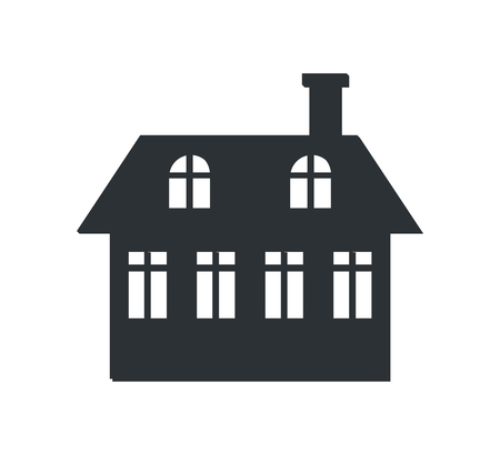 Two Storey House with Chimney Black Silhouette