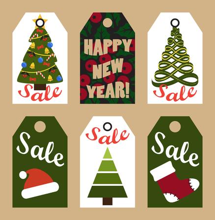 New Year Sale Tags with Trees and Decorations Ilustração